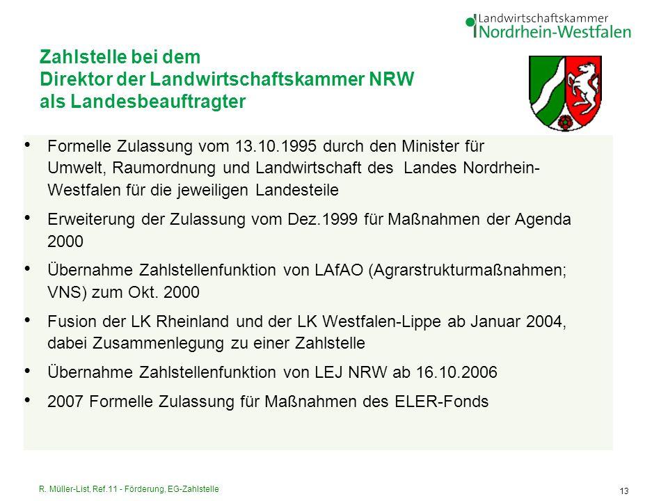 Zahlstelle bei dem Direktor der Landwirtschaftskammer NRW als Landesbeauftragter