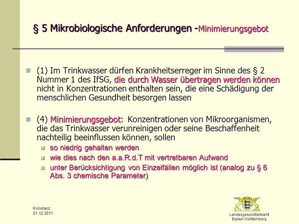 § 5 Mikrobiologische Anforderungen -Minimierungsgebot