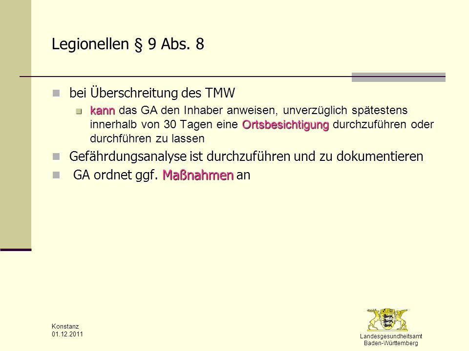 Legionellen § 9 Abs. 8 bei Überschreitung des TMW