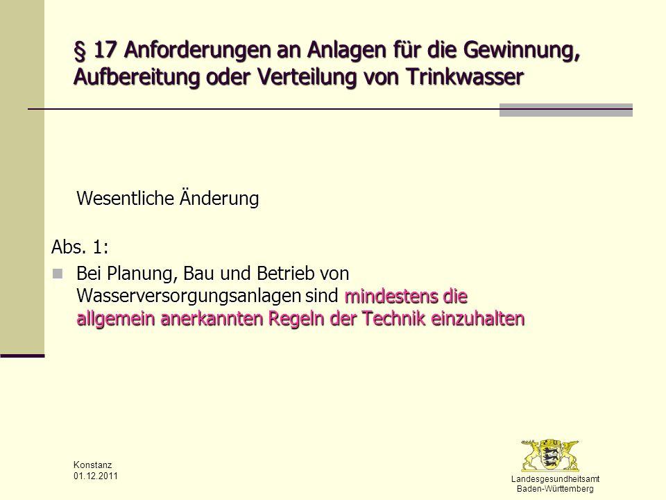§ 17 Anforderungen an Anlagen für die Gewinnung, Aufbereitung oder Verteilung von Trinkwasser