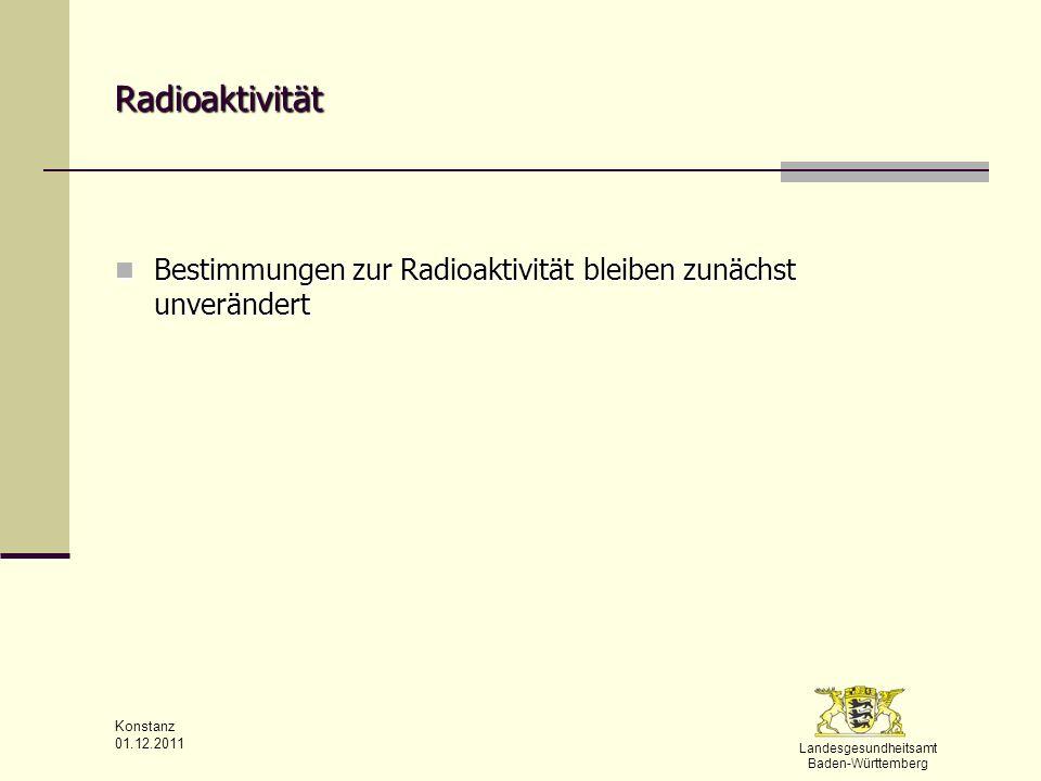 Radioaktivität Bestimmungen zur Radioaktivität bleiben zunächst unverändert Konstanz 01.12.2011