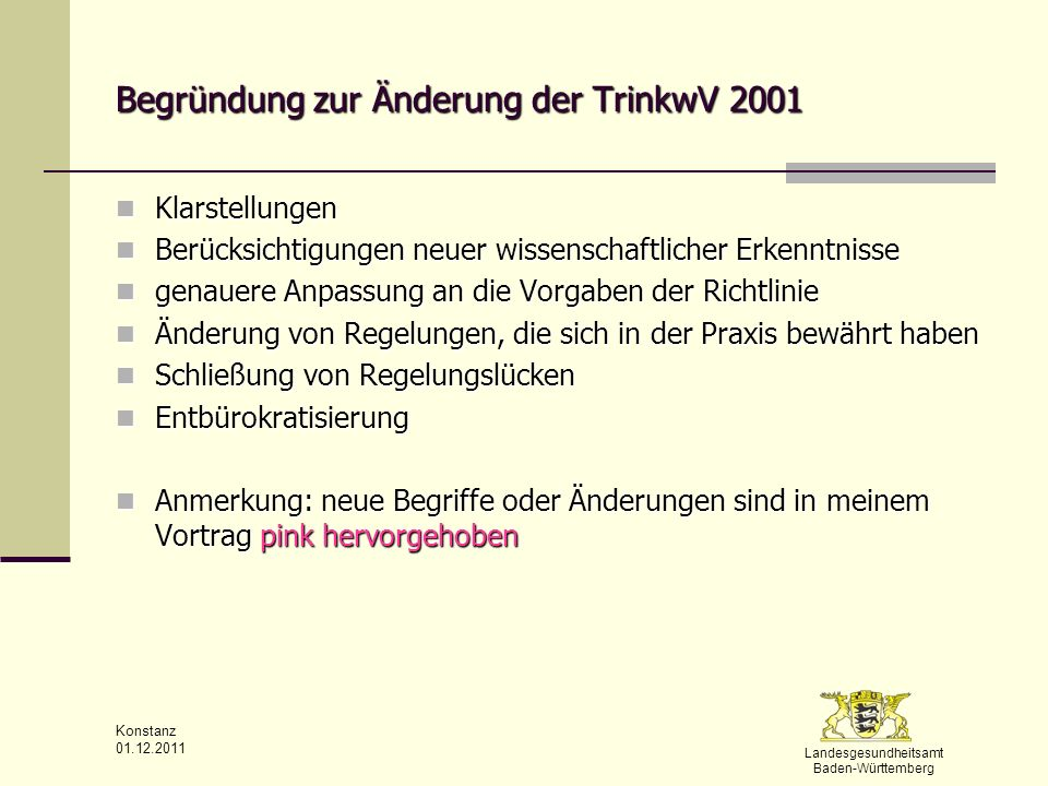 Begründung zur Änderung der TrinkwV 2001