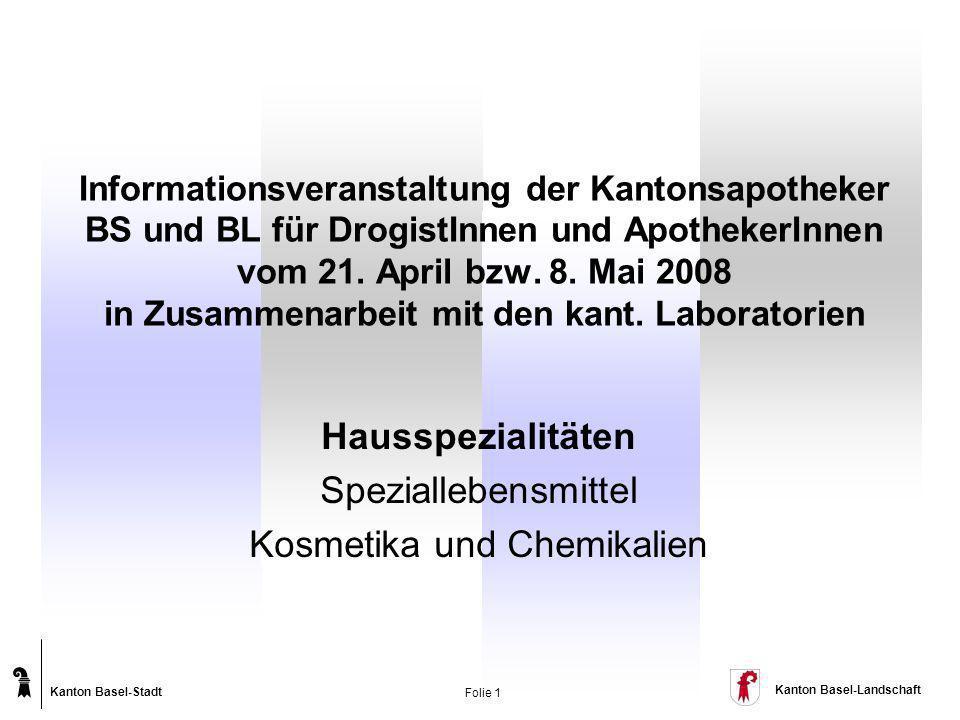 Hausspezialitäten Speziallebensmittel Kosmetika und Chemikalien