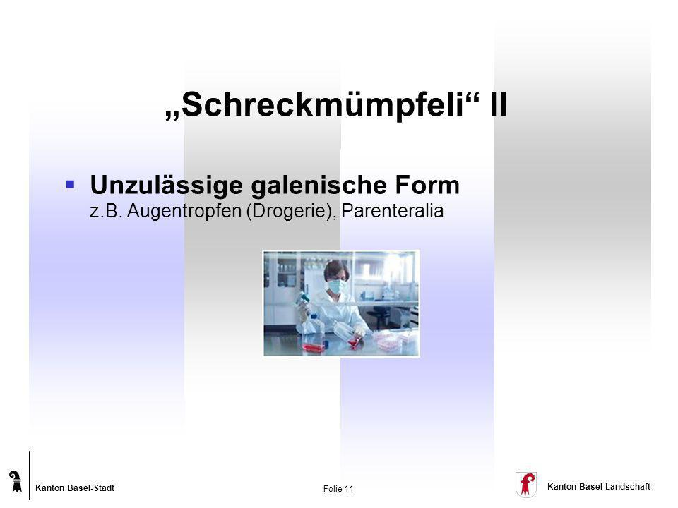 """""""Schreckmümpfeli II Unzulässige galenische Form z.B. Augentropfen (Drogerie), Parenteralia"""