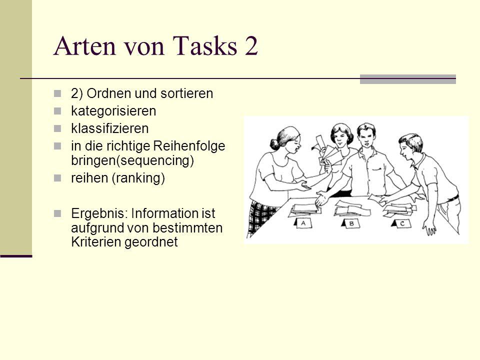 Arten von Tasks 2 2) Ordnen und sortieren kategorisieren