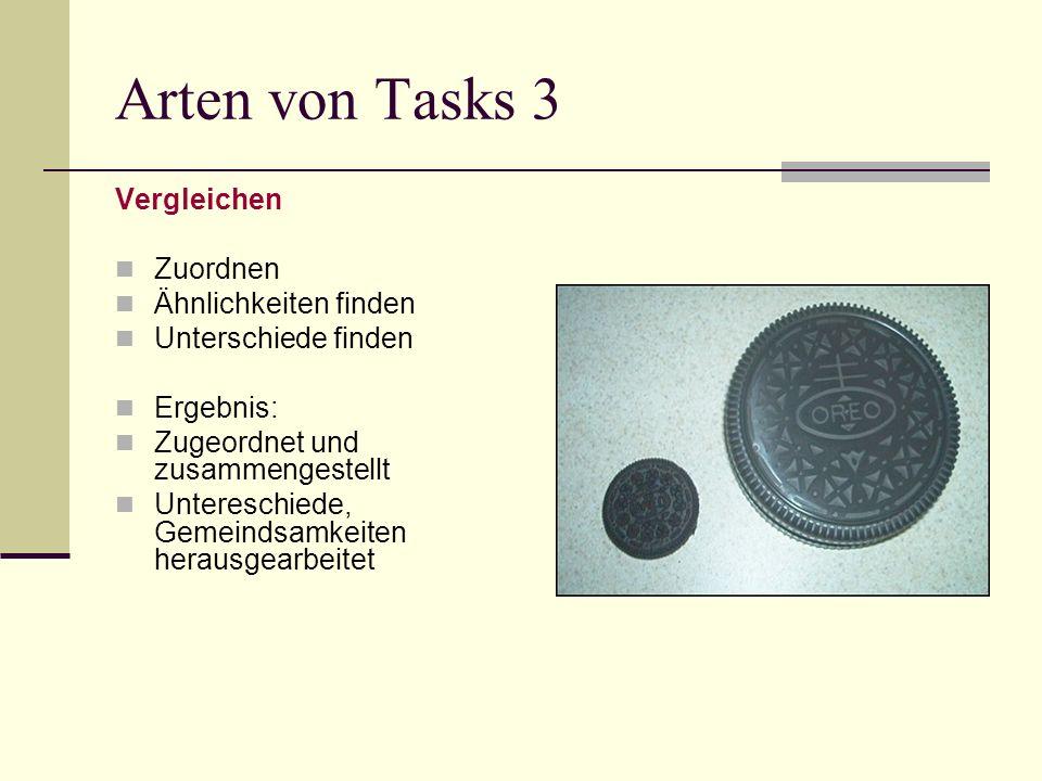Arten von Tasks 3 Vergleichen Zuordnen Ähnlichkeiten finden