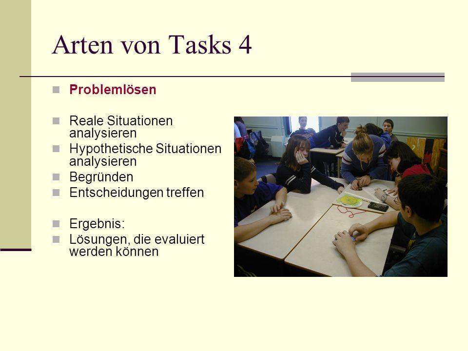 Arten von Tasks 4 Problemlösen Reale Situationen analysieren