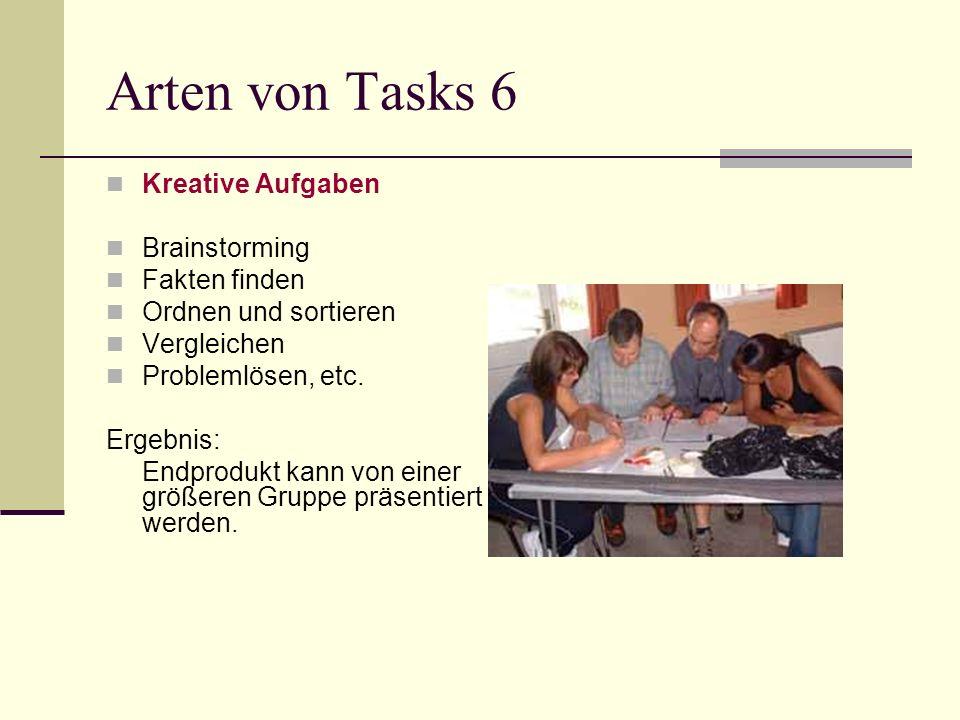Arten von Tasks 6 Kreative Aufgaben Brainstorming Fakten finden
