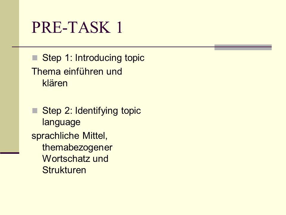 PRE-TASK 1 Step 1: Introducing topic Thema einführen und klären