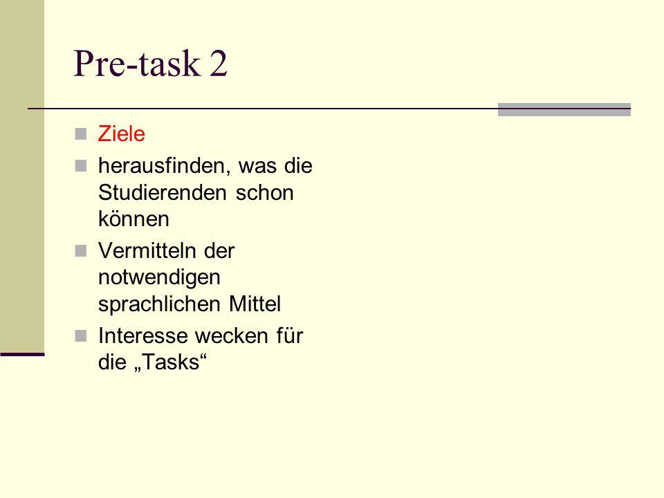 Pre-task 2 Ziele herausfinden, was die Studierenden schon können