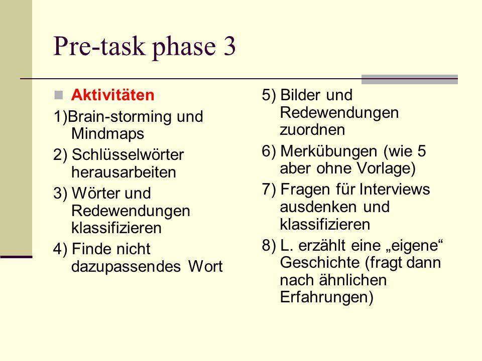 Pre-task phase 3 Aktivitäten 1)Brain-storming und Mindmaps