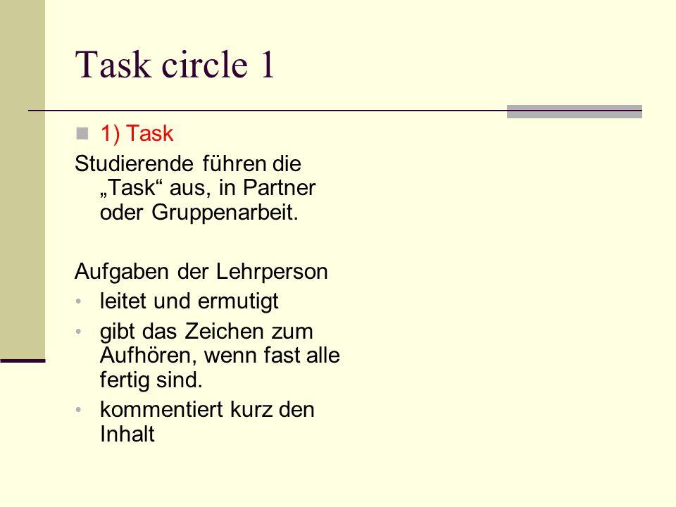 """Task circle 1 1) Task. Studierende führen die """"Task aus, in Partner oder Gruppenarbeit. Aufgaben der Lehrperson."""