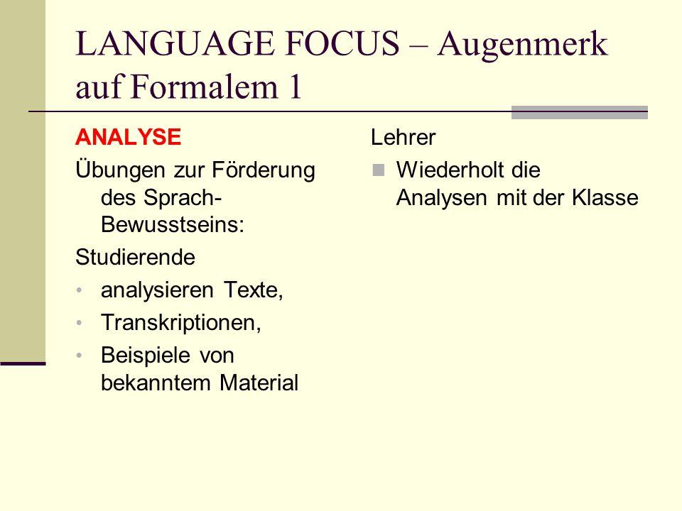 LANGUAGE FOCUS – Augenmerk auf Formalem 1