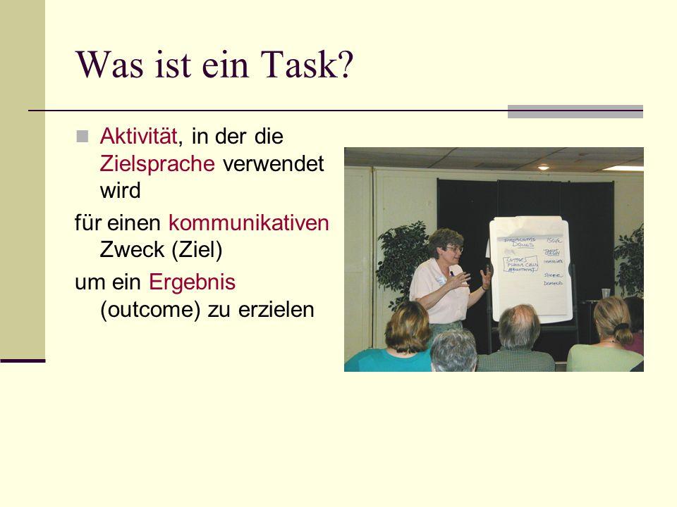 Was ist ein Task Aktivität, in der die Zielsprache verwendet wird