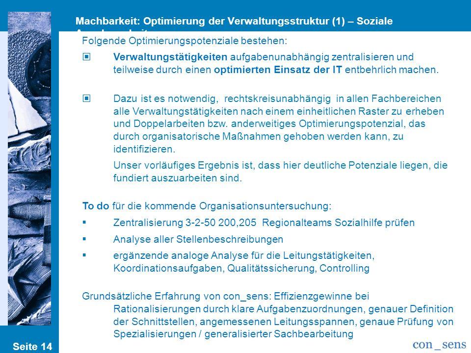 Machbarkeit: Optimierung der Verwaltungsstruktur (1) – Soziale Angelegenheiten