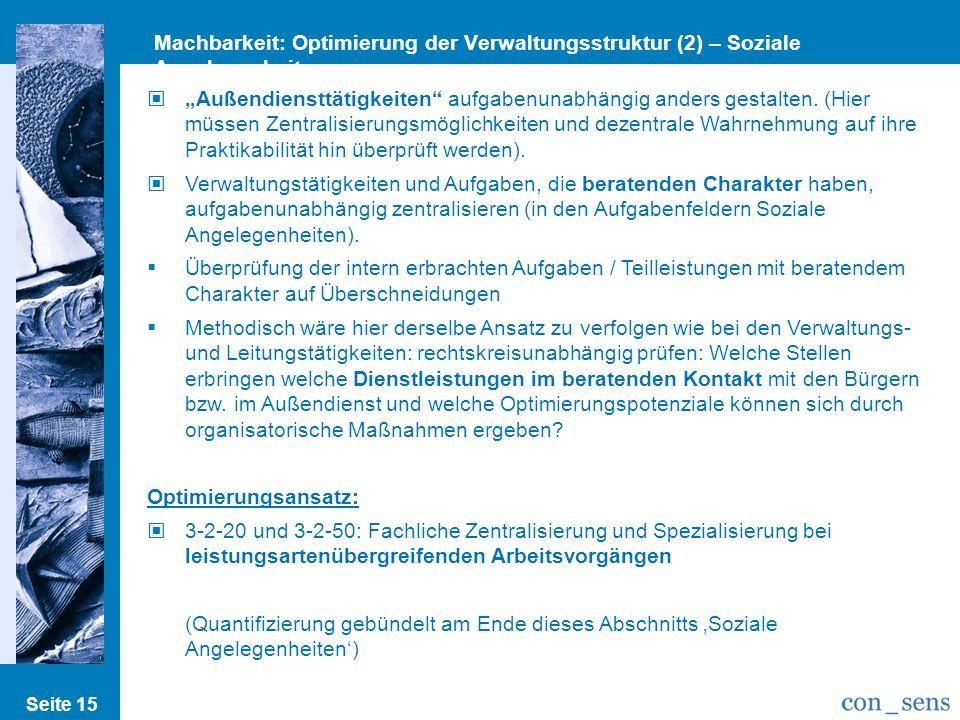 Machbarkeit: Optimierung der Verwaltungsstruktur (2) – Soziale Angelegenheiten