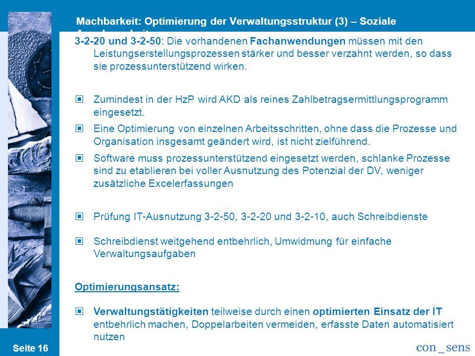 Machbarkeit: Optimierung der Verwaltungsstruktur (3) – Soziale Angelegenheiten