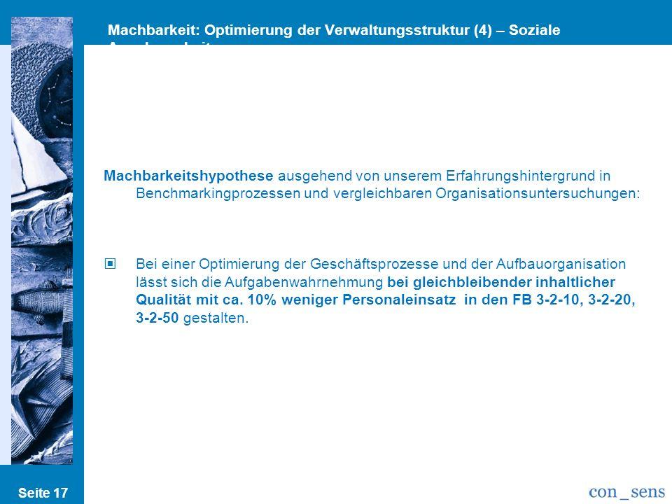 Machbarkeit: Optimierung der Verwaltungsstruktur (4) – Soziale Angelegenheiten