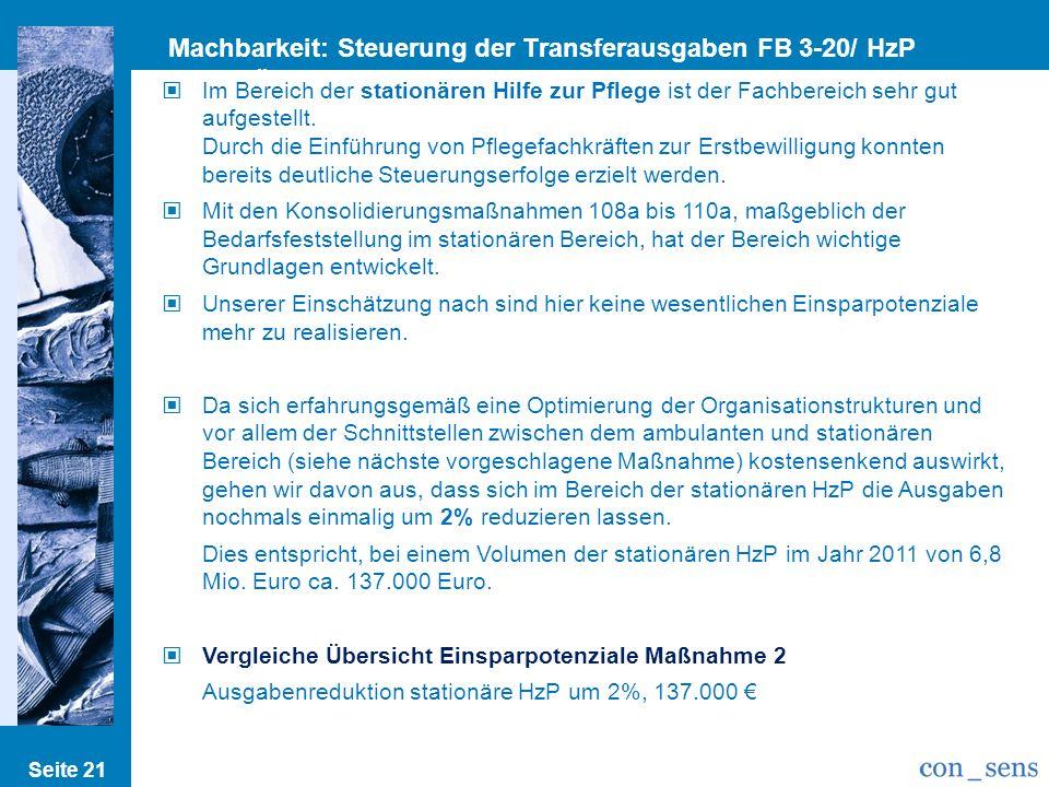 Machbarkeit: Steuerung der Transferausgaben FB 3-20/ HzP stationär