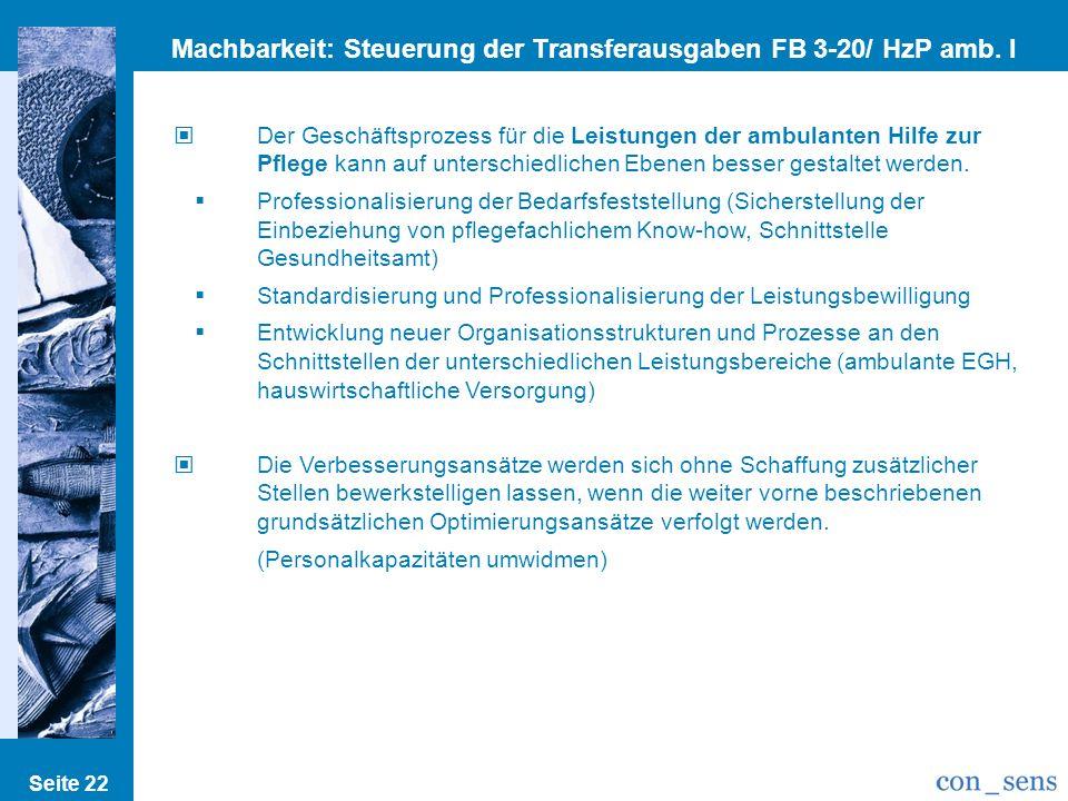 Machbarkeit: Steuerung der Transferausgaben FB 3-20/ HzP amb. I