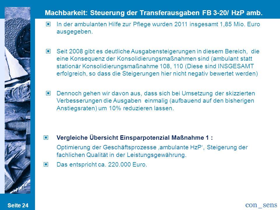 Machbarkeit: Steuerung der Transferausgaben FB 3-20/ HzP amb. III