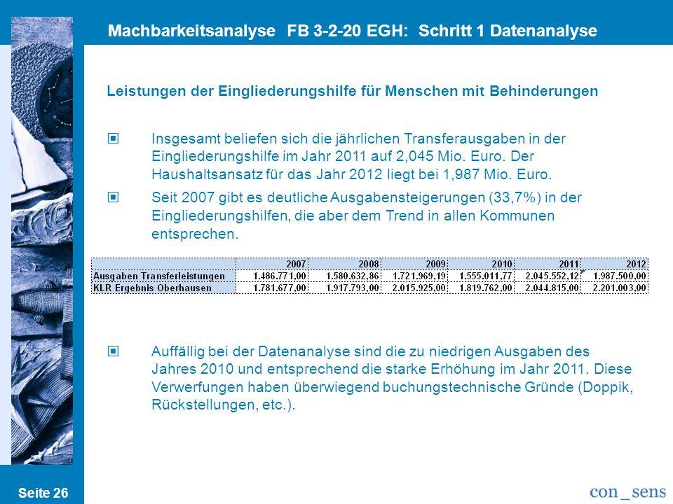 Machbarkeitsanalyse FB 3-2-20 EGH: Schritt 1 Datenanalyse