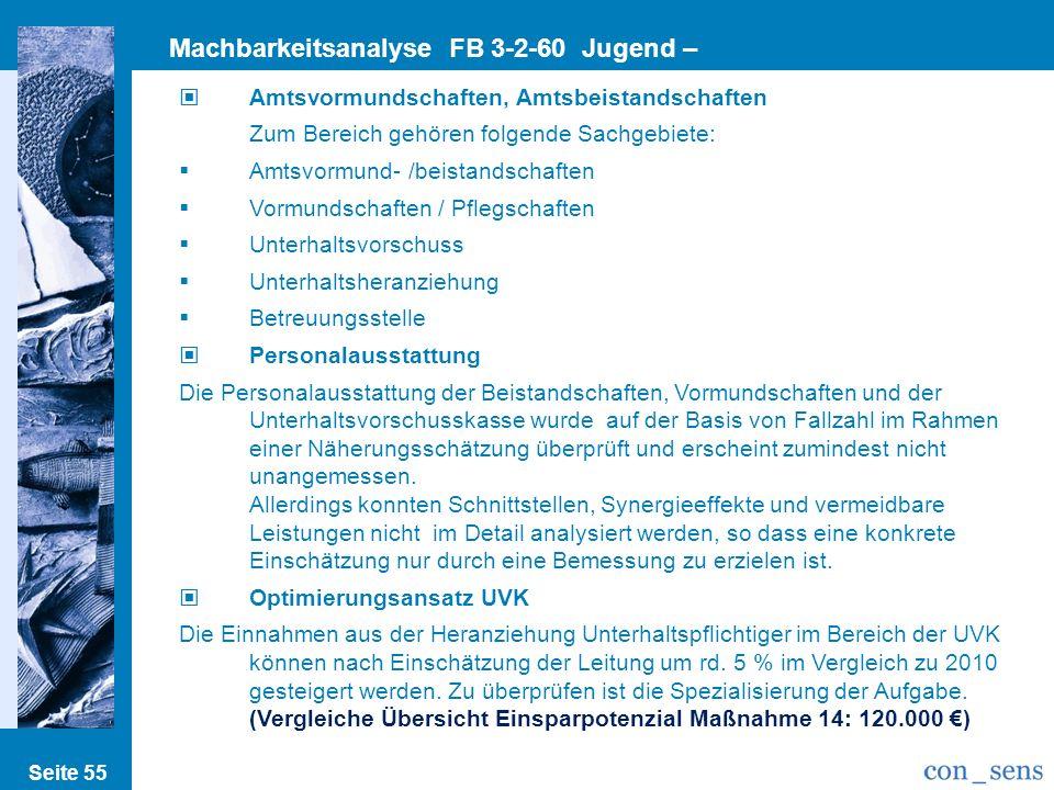 Machbarkeitsanalyse FB 3-2-60 Jugend – Vormundschaft/Beistandschaft