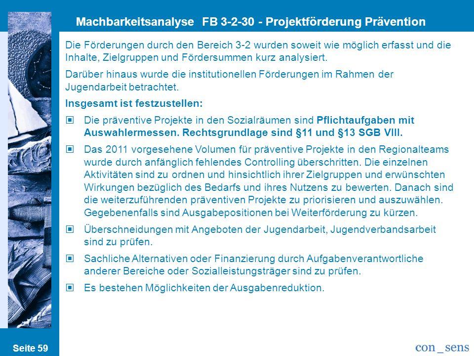 Machbarkeitsanalyse FB 3-2-30 - Projektförderung Prävention