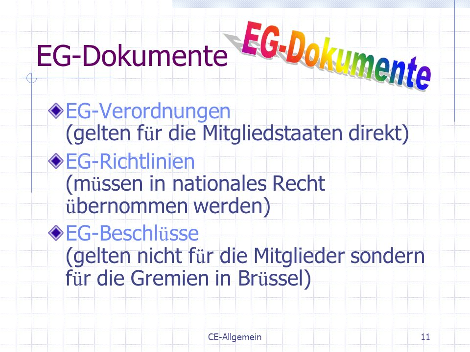 EG-Dokumente EG-Dokumente