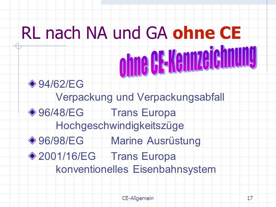ohne CE-Kennzeichnung