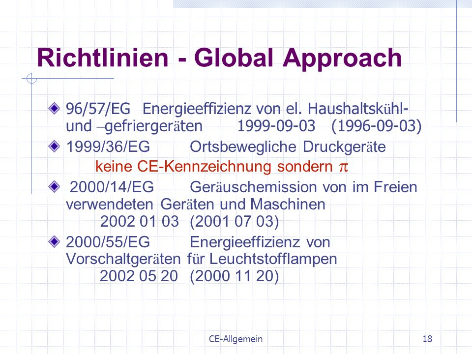 Richtlinien - Global Approach