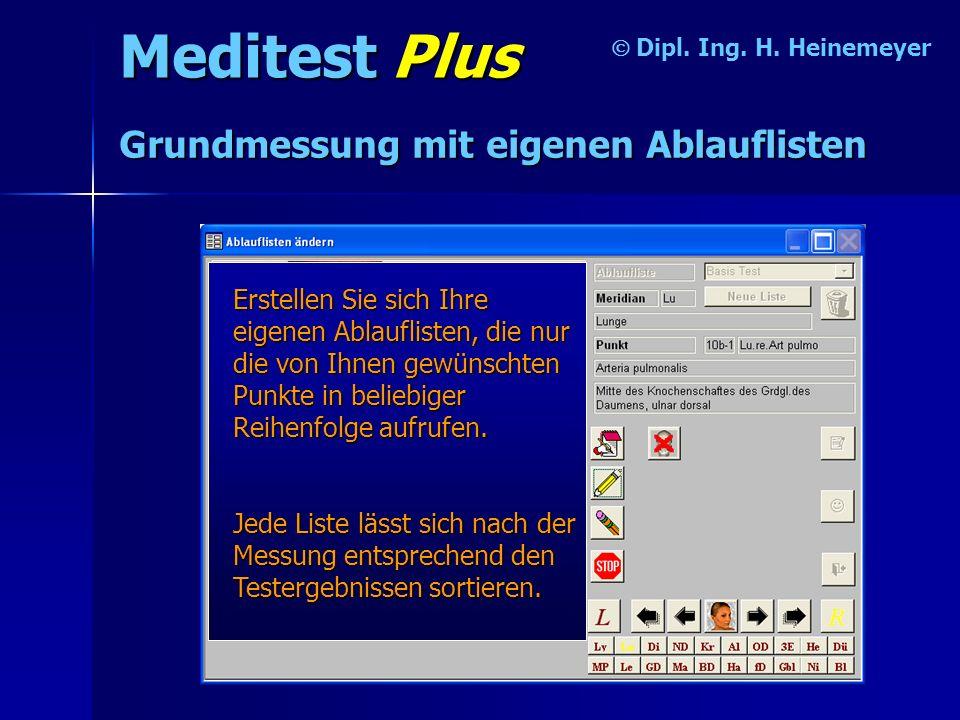 Meditest Plus Grundmessung mit eigenen Ablauflisten