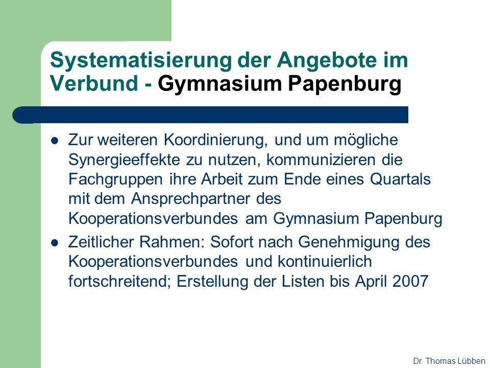 Systematisierung der Angebote im Verbund - Gymnasium Papenburg