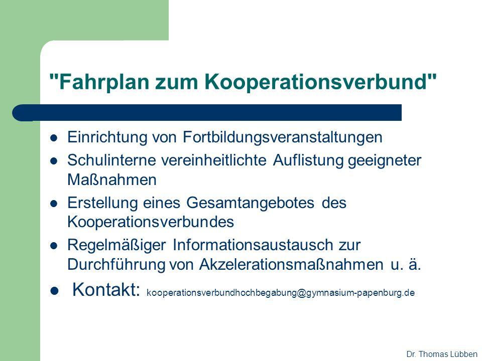 Fahrplan zum Kooperationsverbund