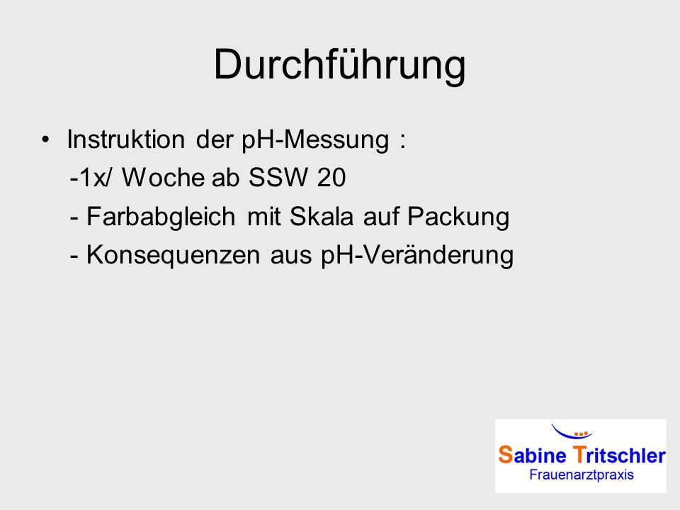 Durchführung Instruktion der pH-Messung : -1x/ Woche ab SSW 20