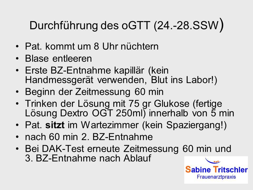 Durchführung des oGTT (24.-28.SSW)