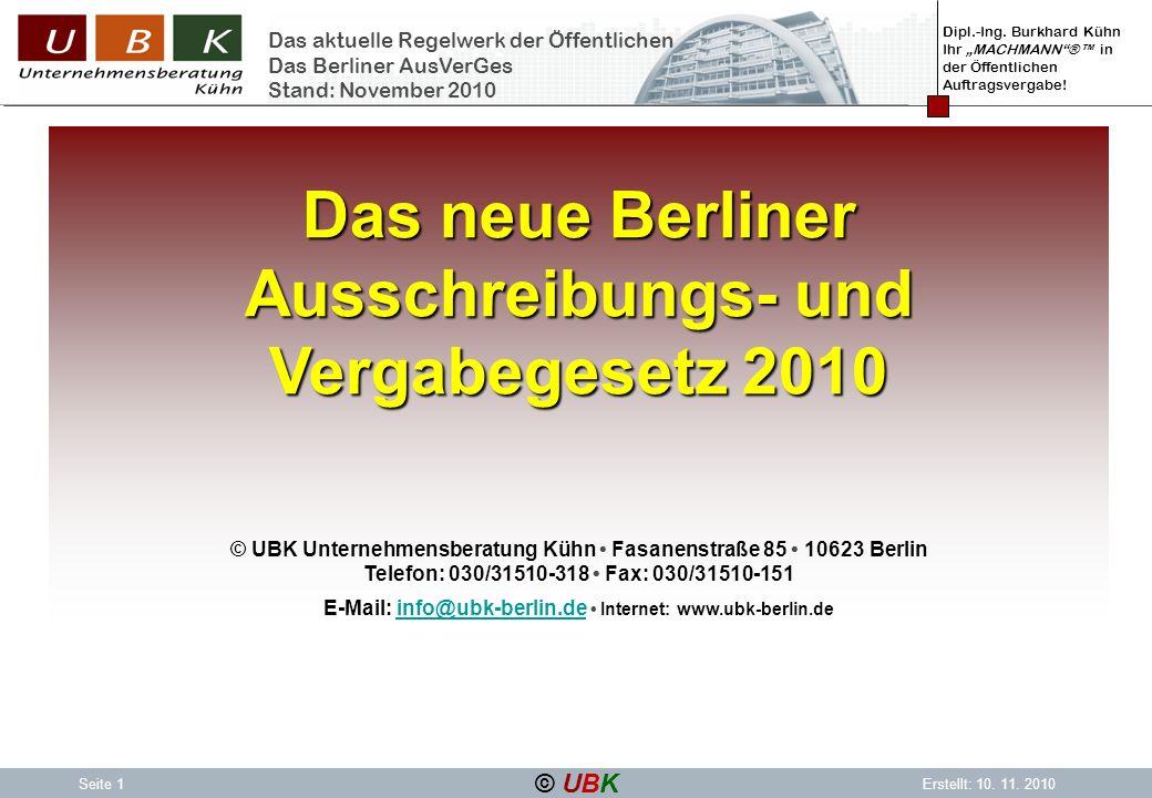 Das neue Berliner Ausschreibungs- und Vergabegesetz 2010