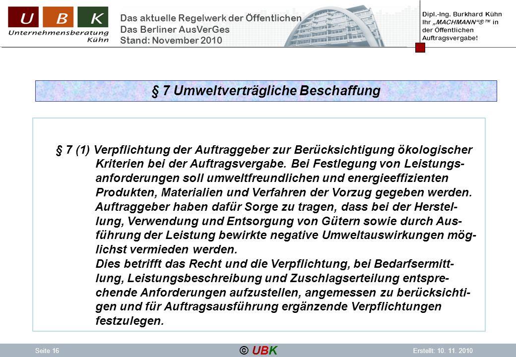 § 7 Umweltverträgliche Beschaffung