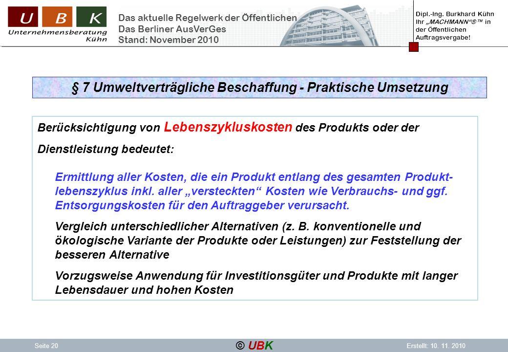 § 7 Umweltverträgliche Beschaffung - Praktische Umsetzung