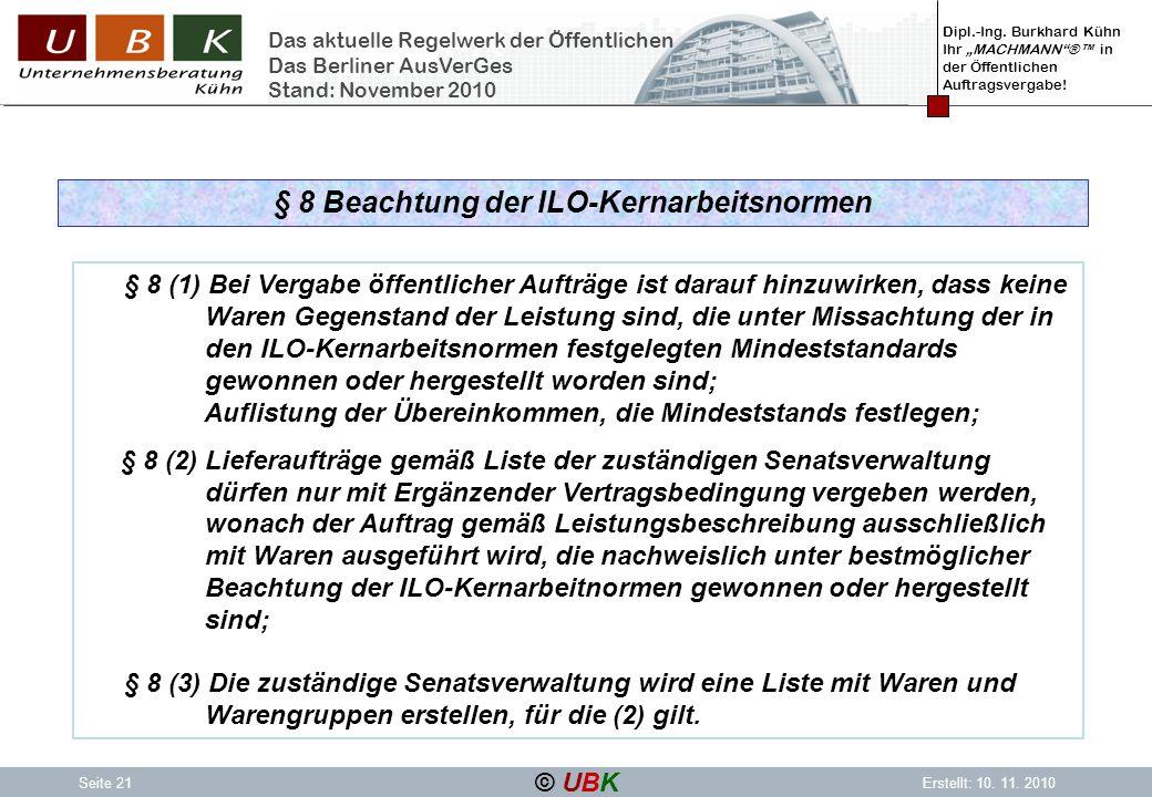 § 8 Beachtung der ILO-Kernarbeitsnormen