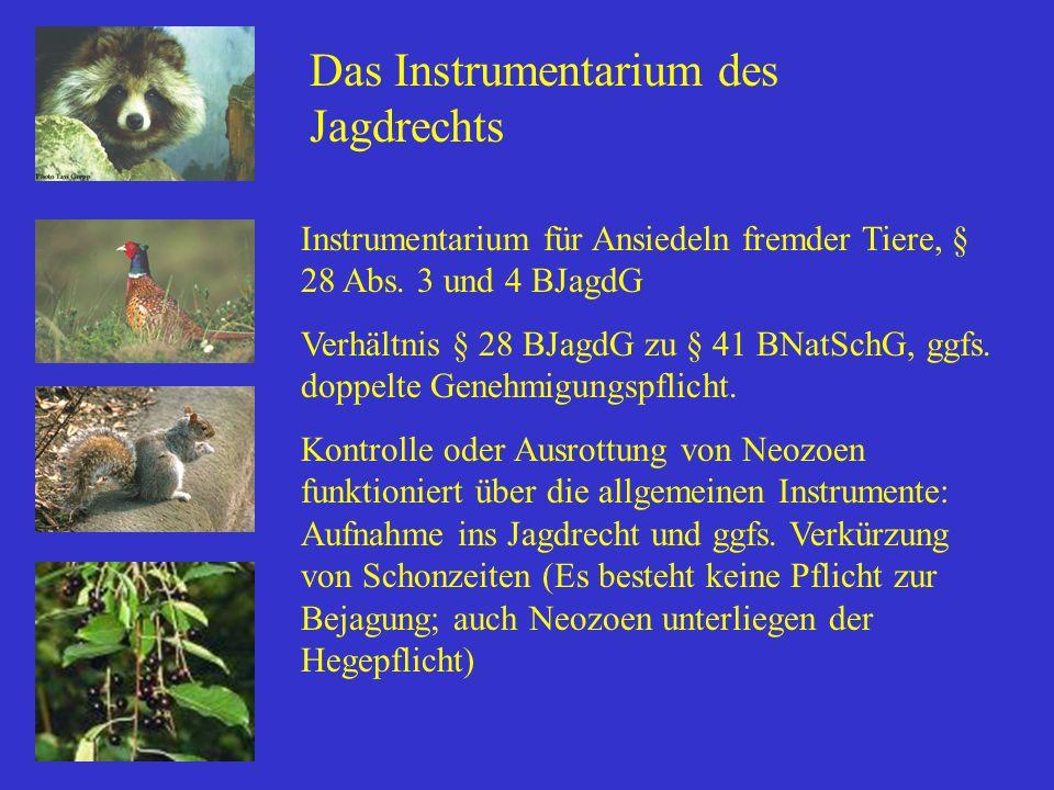 Das Instrumentarium des Jagdrechts