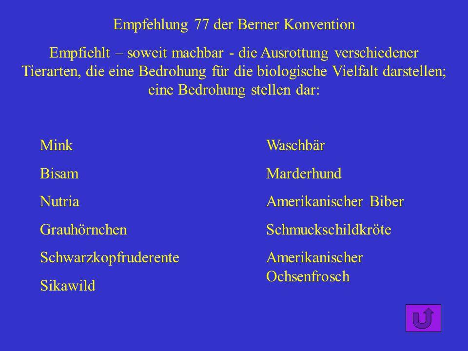 Empfehlung 77 der Berner Konvention