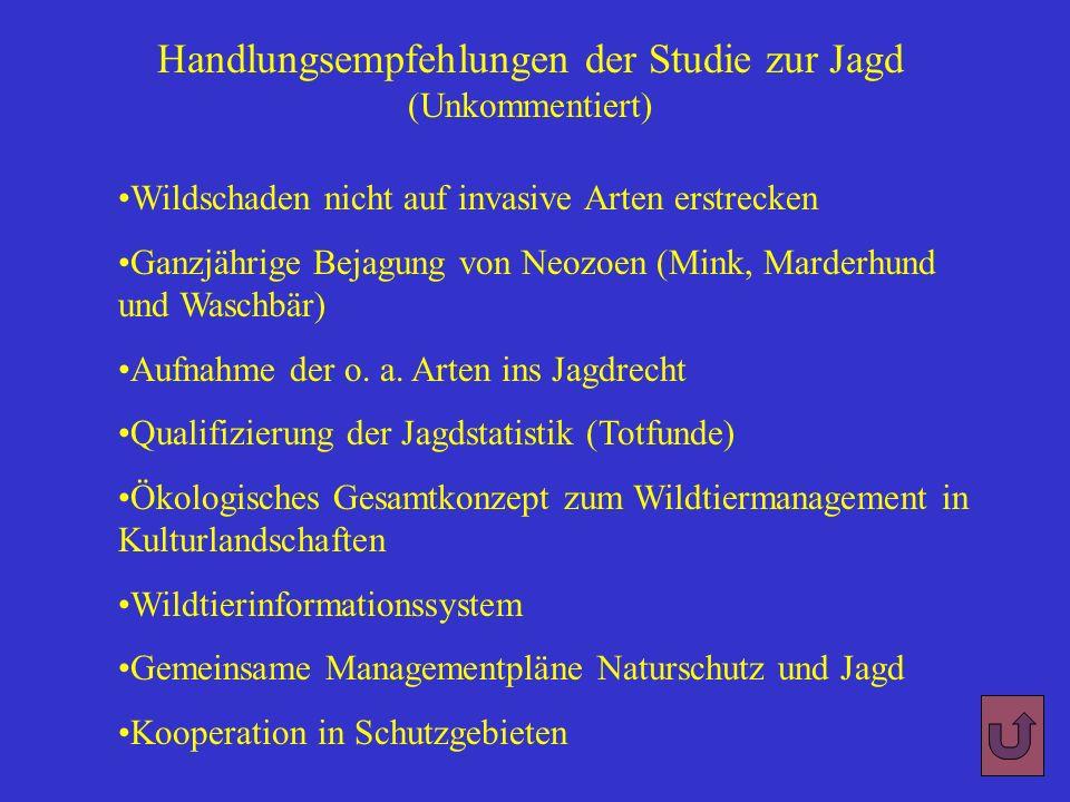 Handlungsempfehlungen der Studie zur Jagd (Unkommentiert)