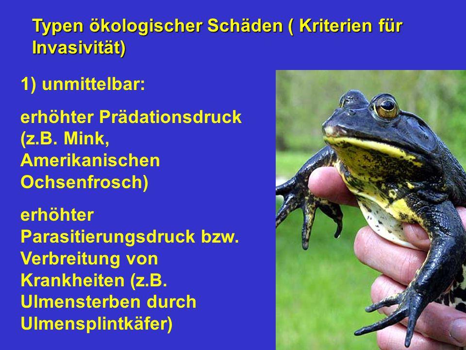 Typen ökologischer Schäden ( Kriterien für Invasivität)