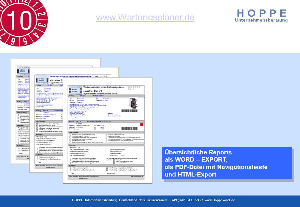 Übersichtliche Reports als WORD – EXPORT, als PDF-Datei mit Navigationsleiste und HTML-Export