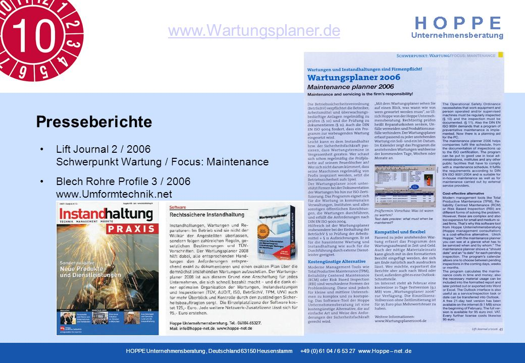 Presseberichte Lift Journal 2 / 2006 Schwerpunkt Wartung / Focus: Maintenance.