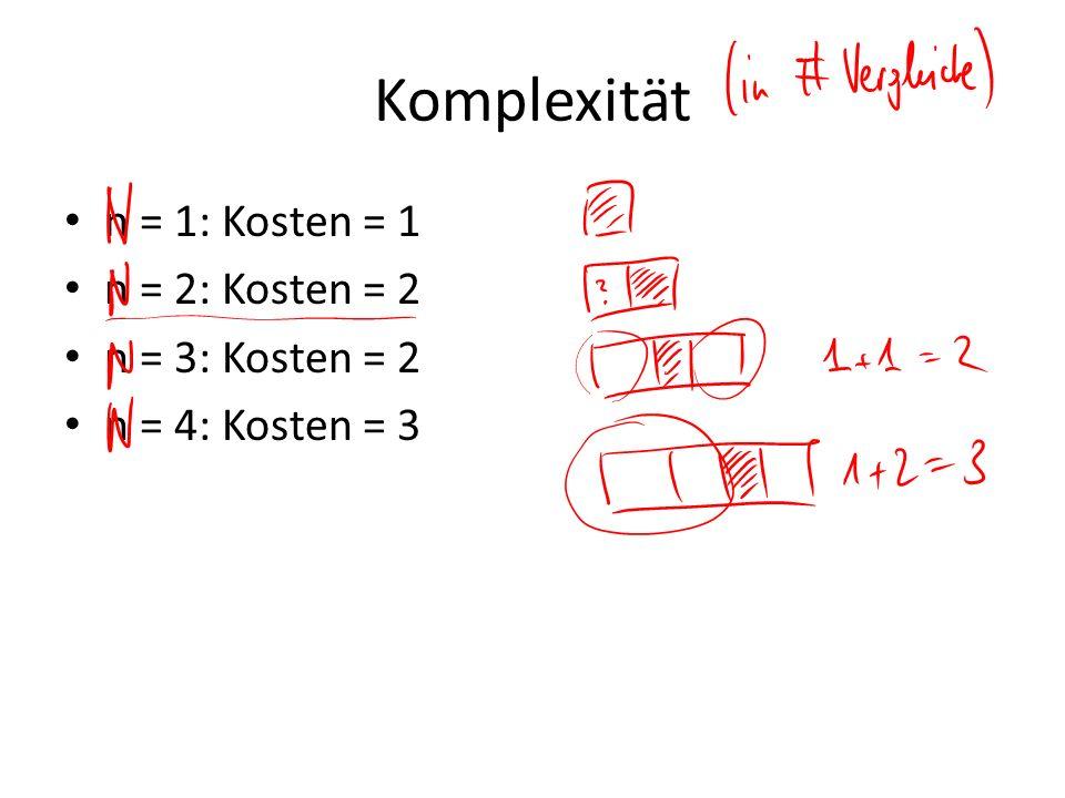 Komplexität n = 1: Kosten = 1 n = 2: Kosten = 2 n = 3: Kosten = 2