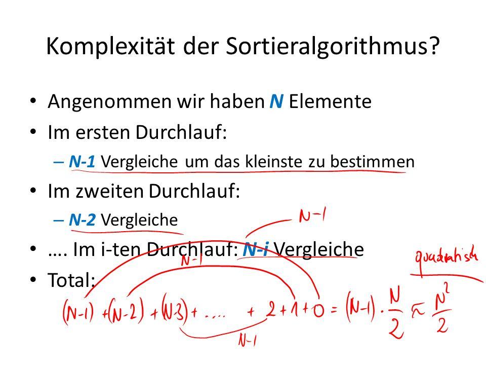 Komplexität der Sortieralgorithmus