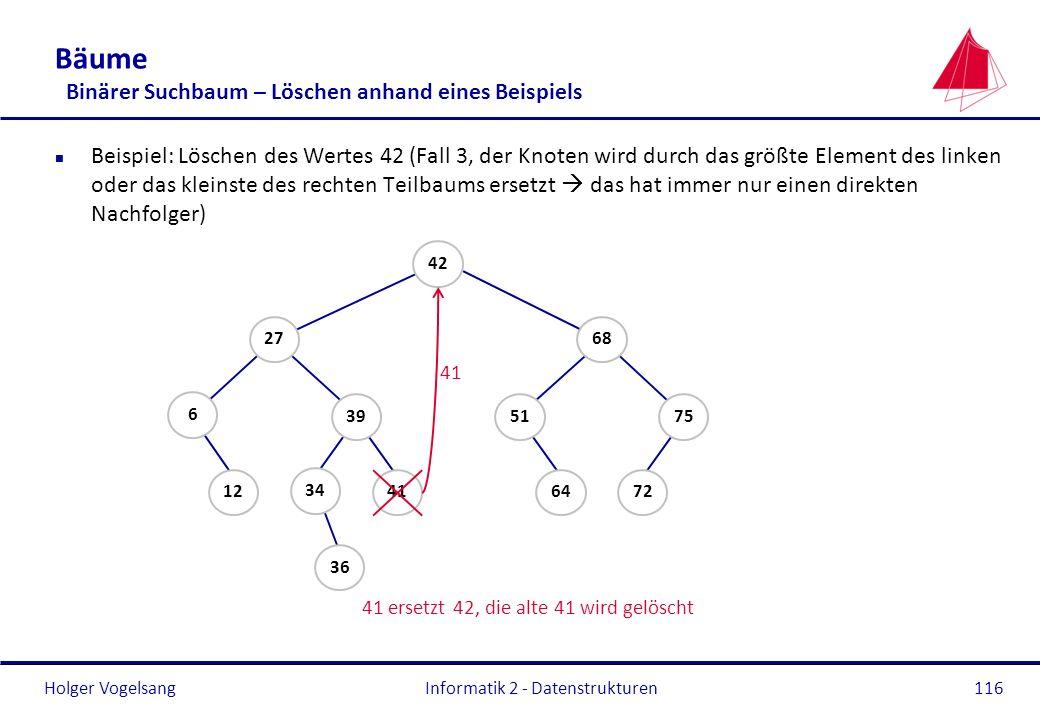 Bäume Binärer Suchbaum – Löschen anhand eines Beispiels