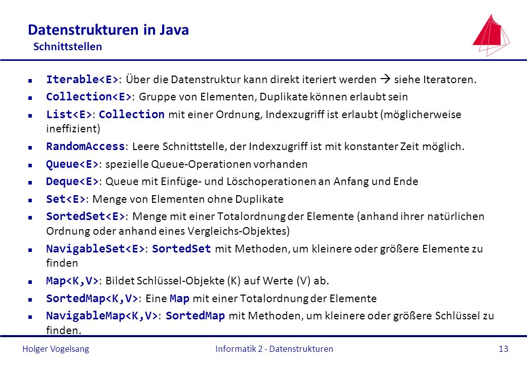 Datenstrukturen in Java Schnittstellen
